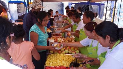 페루 비야 엘 살바도르 화재 이재민 무료 급식 봉사